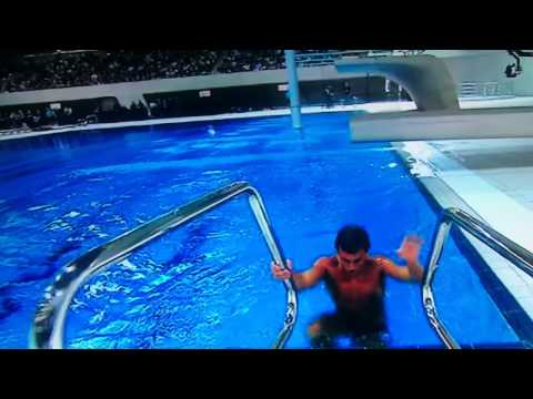 OLYMPICS 2012 COUNTDOWN TOM DALEY TAKES FIRST DIVE IN NEW OLYMPIC AQUATIC CENTRE