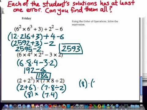 Find the errors: Math lesson worksheet on order of operations ...
