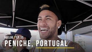 Neymar assiste Gabriel Medina em Portugal