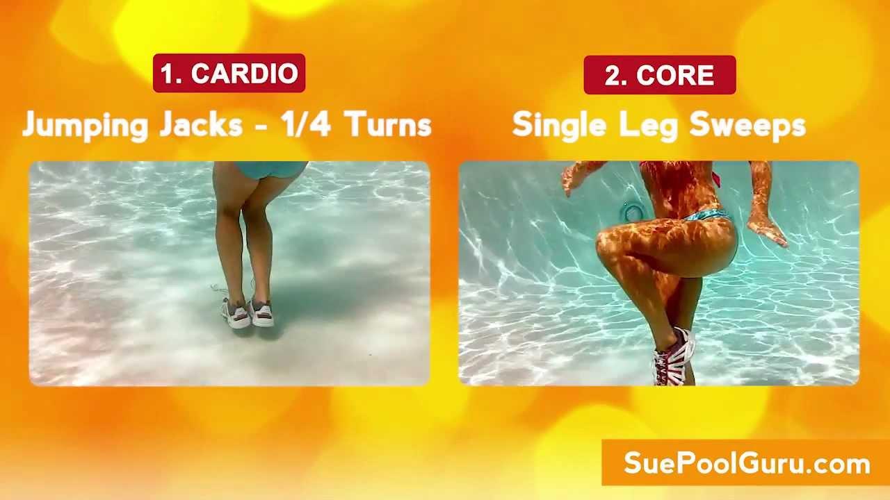 Glam legs sleek abs aqua aerobic exercise http youtube for Swimming pool exercises for buttocks