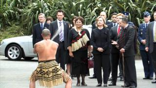 Traditional welcome for Hillary Clinton at Parliament