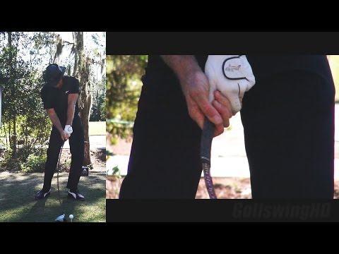 GREG NORMAN 2014 GOLF SWING AFTER CHAINSAW INJURY - HANDS AT IMPACT (CLOSE UP) SLOW MOTION 1080p HD