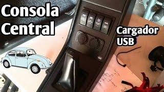 Consola Central y Revistero con Panel de Interruptores para Vocho