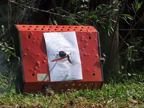 Tiro con rifle aire comprimido cal 5,5 municion explosiva