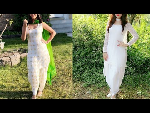 New white colour suit with contrasting dupatta and salwar design ideas/stylish white colour suit