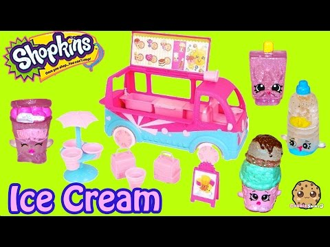 Shopkins Season 3 Glitzi Scoops Ice Cream Truck Playset Food Fair 4 Exclusive Toys Video Unboxing