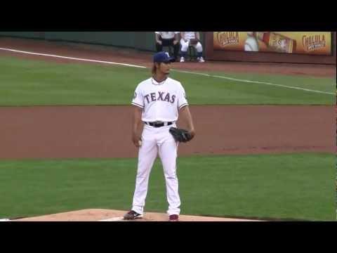 Yu Darvish vs Ichiro Suzuki (1st AB) 4/9/12 Texas Rangers