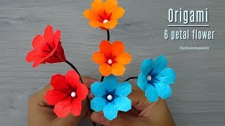 Origami flower - How to make origami 6 petal flower, Paper flower tutorial