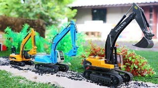 Excavator And Truck Toys | Construction Vehicles Build Roads | Video For Kids