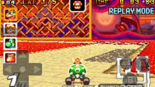 Mario Kart Super Circuit (GBA) - BOWSERCastle 4 Replay (WARNING:LOTS OF SPINOFFS+SANTA HIT AT END!!)
