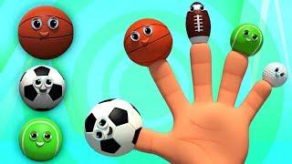 bóng thể thao ngón tay gia đình | vần cho trẻ em | Sports Ball Finger Family