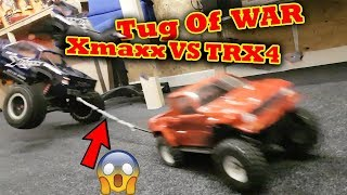 TUG of WAR all my RC Cars FAIL + CRASH ! Traxxas TRX-4 X-Maxx Rustler