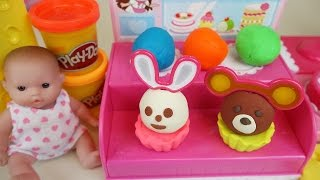 Baby doll and Play-Doh Cake shop toys