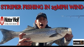 STRIPER FISHING IN 25MPH WIND (THESE FISH LIKE CRAZY WEATHER}