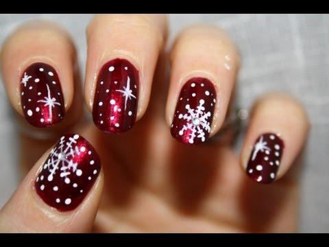 Christmas sowflakes - Tutorial nail art - YouTube