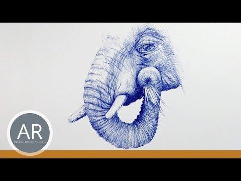 Tiere zeichnen lernen. Elefanten zeichnen. Mappenvorbereitungskurs Kunst
