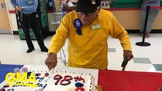 98-year-old bag boy's surprise birthday party pays tribute to his WWII service | GMA Digital