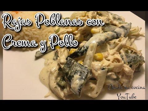 Rajas Poblanas con Crema y Pollo/Roasted Poblanos in cream sauce - DESDE MI COCINA by Lizzy thumbnail