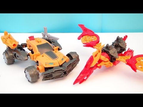 TRANSFORMERS 4 BUMBLEBEE NOSEDIVE CONSTRUCTBOTS AGE OF EXTINCTION DINOBOT WARRIORS PLAYSET VIDEO