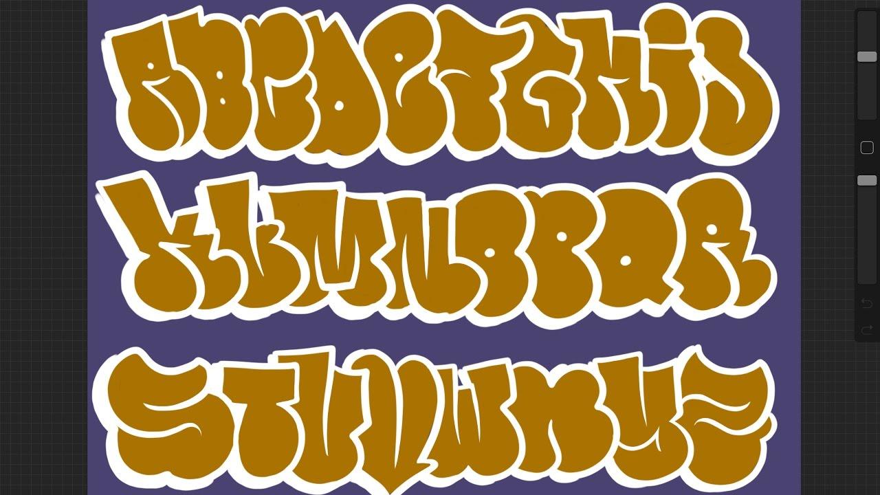 Graffiti Alphabet Tutorial  How to draw Graffiti Bubble Letters A to C
