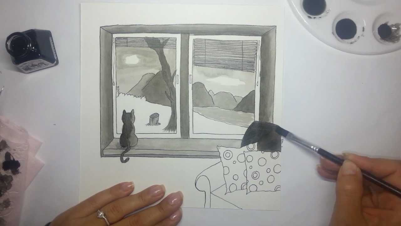 Window View Ink Drawing Using Dip Pen And Paintbrush