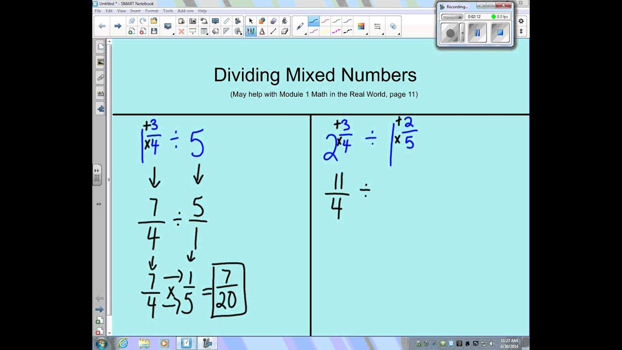 Dividing Mixed Numbers Youtube