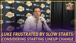 Lakers Post Game: Luke  Considering Starting Lineup Change After Another Slow Start in Loss to Cavs
