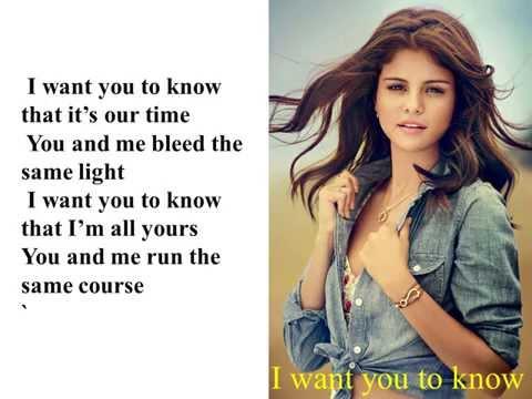 I want to you know - Selena Gomes lyrics