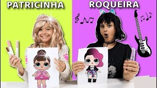 COLORINDO COM 3 CORES NA ESCOLA!!! Criança Patricinha VS Roqueira!!  3 MARKER CHALLENGE!