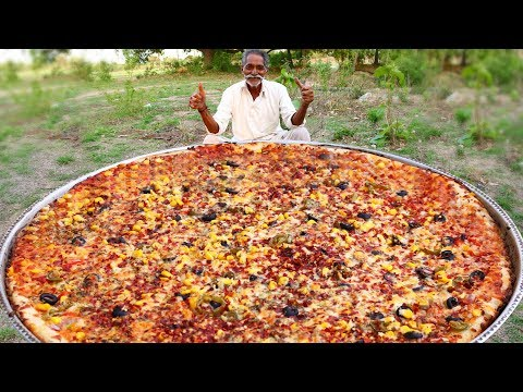 Biggest Vegan Pizza Recipe By Our Grandpa | Veg Pizza Recipe with out oven