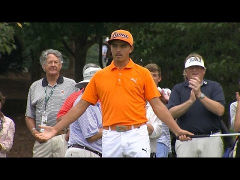 Rickie Fowler holes a lengthy birdie putt on No. 10 at TOUR Championship