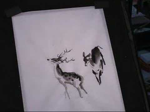 Chinese Deer Painting Painting Deer in Ink And