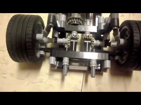 Lego Technic Rear Suspension and AWD With Front Steering