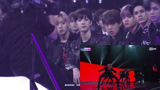 "171201 WANNA ONE, DAY6 reaction to BTS ""MIC DROP"" @MAMA 워너원의 리액션 to 방탄소년단 무대"