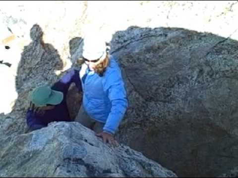 Shelli Johnson learns bouldering from Jackson Hole Mountain Guides guide Julia Niles