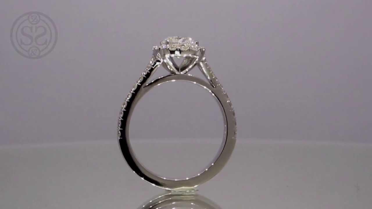 Split Shank Cushion Cut Halo Engagement Ring