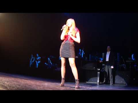 Francesca singing on Broadway with Hugh Jackman