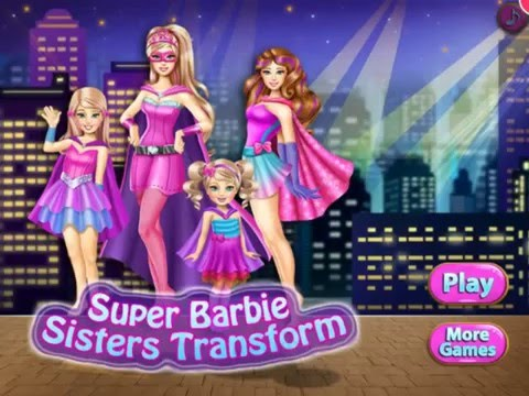 Super Barbie Sisters Transform - Barbie Dress Up Games for Girls