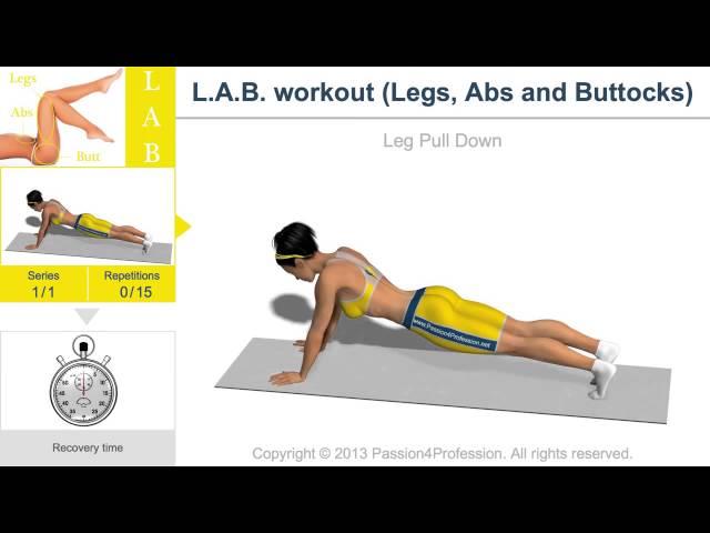 Cviky na stehna, hýždě a břicho (exercises for the thighs, buttocks and abdomen) for woman