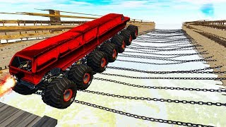 Beamng drive - 50+ Air Сhains tension Crashes (Driving on chains)