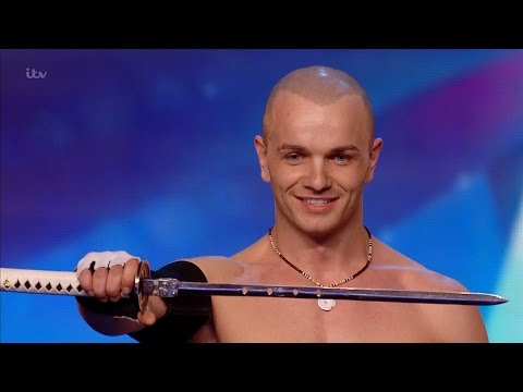 Moldovan Alex Magala swallowing swords and doing some crazy moves on Britain's Got Talent 2016, Audition week 1.