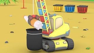 Tiny Trucks - To The Beach with FRIENDS - Kids Street Vehicles Bulldozer, Excavator & Crane Cartoon