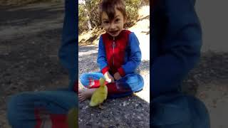 Little lad in Spiderman costume is followed by duckling