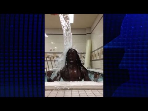 Andrew McCutchen accepts the Ice Bucket challenge