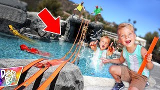 Giant Hot Wheels Swimming Pool Race Track! р WHO WINS?!
