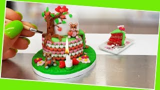 Mini BEAR-LOVE cake / real mini cake/ Jenny's mini cooking show / ASMR / tiny food