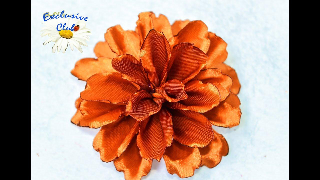 Хризантема мастер класс Хризантема из атласной ленты 28