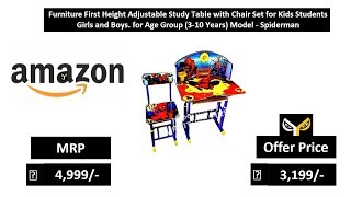 Furniture First Height Adjustable Study Table with Chair Set for Kids