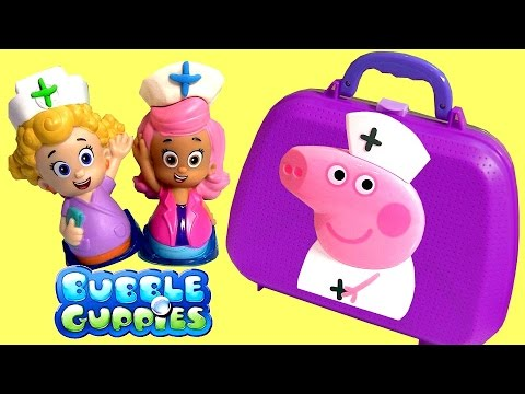 Play Doh Bubble Guppies Molly & Nurse Peppa Pig Medical Case at the Me...