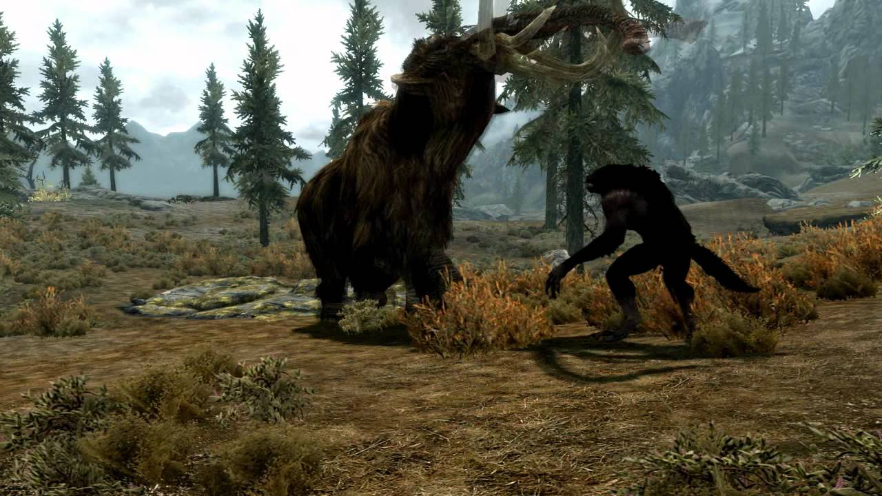 Skyrim Mammoth vs Dragon Mammoth Win Skyrim